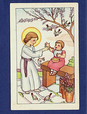 SET Vintage PC / HOLY CARD with INFANT JESUS feeding BABY. Birds eating Crumbs