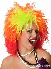 80s CYNDI LAUPER COSTUME WIG True Colours Style Curly Ladies Fancy Dress Party