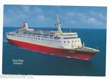 Vintage Signed Star Ship Atlantic Postcard & Holder Premier Cruise Lines