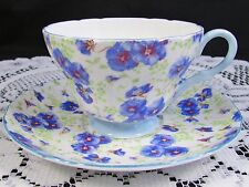 SHELLEY PANSY CHINTZ HENLEY SHAPE TEA CUP AND SAUCER