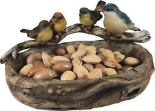 NIB Large Wood Look Hand Painted Poly Resin Bird Bowl