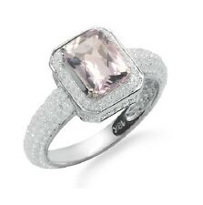 14K ROSE WHITE GOLD MICRO PAVE EMERALD CUT PINK AMETHYST DIAMOND ENGAGEMENT RING