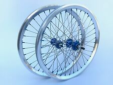 "NOS Vintage BMX 20"" Sumo Semi Polished Rims Laced Blue Anodized Hubs and Nipples"