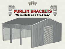 Open Farm Shed 8inch C Section Purlin Bracket Set-Garage-Farm-Steel Plate