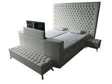 New North Shores Upholstered deep buttoned Posture Slat Bed with TV Lift