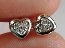 NEW Petite Diamond Accent 6mm Heart Stud Post Earrings- Solid 10K White Gold
