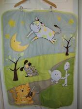 Baby First Nemcor Quilt Comforter Mother Goose Nursery Rhyme Hey Diddle 42 x 32""