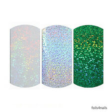 3 x Nail Art Foils - Glitter Pack, Green, Silver, Transparent, Holographic
