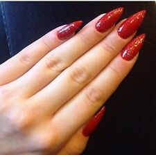 Hand Painted False Nails Red Stiletto Gold Glitter Christmas Full Cover Tips