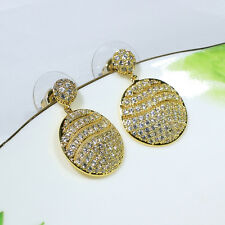 18K Yellow Gold Filled Clear CZ Women Fashion Jewelry Lady Dangle Earrings E3733