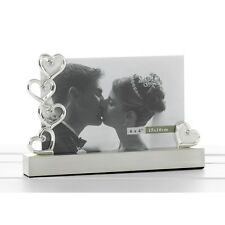 "Personalised Silver Hearts Photo Frame 6""x 4"" Engraved Wedding Gift 70372E"