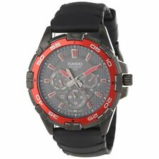 Casio Men's MTD1069B-1A2 Round Analog Black and Red Dial and Black Resin Watch