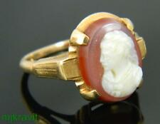 14K Yellow Gold Carved Sardonyx Cameo Ornate Frame Victorian Ring