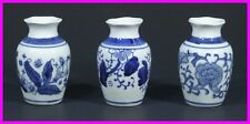 "* 3 Small White / Blue Chinese Porcelain Mini Vases 3.5"" x 2.3"" Oriental NEW a *"