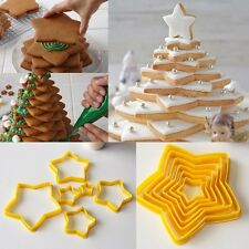 6Pcs/Set New 3D Christmas Tree Five-pointed Star Cookies Cutter Baking Cake Mold