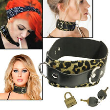 Sparkly Leopard Leather Choker Harajuku Punk Rock Goth Collar D-Rings Necklace