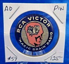 RCA Victor Magic Brain Radio Advertising Pin Pinback Button 1 1/4""