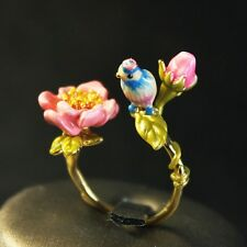 Bague Reglable Petit Email Oiseau Perroquet Bleu Fleur Rose Feuille Original L2