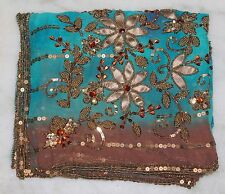 VINTAGE FLORAL DUPATTA LONG STOLE SCARF BEADED EMBROIDERY GEORGETTE BRIDAL VEIL""