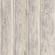 MURIVA WOOD BEAM PANEL PATTERN WOODEN FAUX EFFECT TEXTURED VINYL WALLPAPER TAUPE