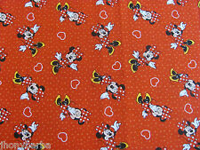 MINNIE MOUSE HEARTS & POLKA DOTS on RED 100% COTTON FABRIC Priced By The Yard