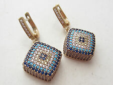 UNIQUE TURKISH TURQUOISE 925 STERLING SILVER EVIL EYE SQUARE EARRINGS