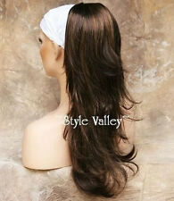 Brown Mix Ponytail Hair Piece Long Straight w/ wavy ends clip on in Extension