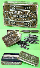 Antique A.Sommerville & Co Birmingham No 934 Calligraphy 26 Nibs in Box, England