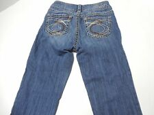 "Womens Size 25/33 Silver Jeans Suki 17"" Denim Boot Cut Blue Jeans Destroyed"