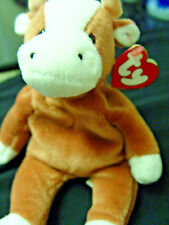 BESSIE the COW@RARE TY Beanie baby 1st generation tush tag /3rd gen hang tag@