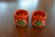Waechtersbach Candle Holders Set of 2 Taper Red Christmas Tree Holiday Spain