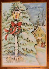 Vintage UNUSED GLITTERED EMBOSSED DIE-CUT Christmas Card HORSE DRAWN STAGE COACH