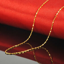 """New Style Pure 24k Yellow Gold Necklace Women Lucky Full Star Chain 16.9"""" L 2.5g"""
