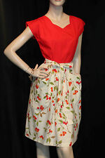 M Vtg 50s SWIRL Cotton Red-Orange Cherry Fruit Print Rockabilly Wrap Day Dress