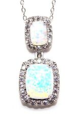 Sterling Silver Fire Opal And Diamond 6.99ct Emerald Cut Necklace (925)