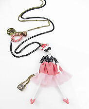 BETSEY JOHNSON 'Cameo Critters' Kitty Diva Girl Pendant Long Necklace $75