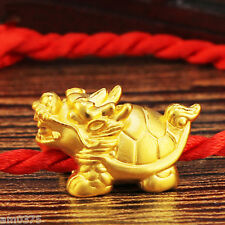 New Pure 24K Yellow Gold Pendant / 3D Dragon Head &Tortoise Body Lucky Pendant