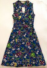 BRORA BNWT Botanical Print Bright Floral 100% Silk Dress UK 8
