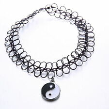 Yin and Yang Tattoo Choker Stretch Necklace Pendant Grunge 80s 90s Ying Festival