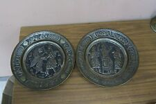 Set @ 2 Vintage Islamic Persian Persepolis Kings Tinned Copper Tray Wall Plate