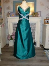 PROM emerald green gown, Sz 12, satin, beaded pageant bridesmaid dress, EX CON