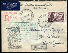 1948 - Aerogramma da Parigi per Rio de Janeiro - Anniversario Primo Volo