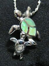 Silver 925 Filled Pendant & Necklace Green Lab Fire Opal TURTLE MOM & CHILD