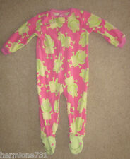 Girls Carter's Pink w/ Green Frogs Footed Pajamas PJs size 18 month