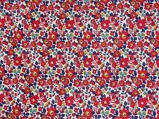 "LIBERTY PRINTS ""BETSY ANNE"" PER HALF METRE 50cm cotton tana lawn fabric RED/BLUE"