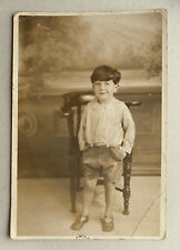 1927 B/W Photograph. Cheeky Young Boy in Shirt Buttoned to Shorts. Seaside?