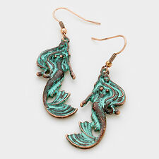 "Mermaid Earrings Tail Hair Swirl Metal 2.25"" Long Drop Beach Sea Antique Patina"