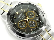 Seiko Men's Quartz SKS525P1 Stainless Steel 100M Chronograph TwoTone Date Watch