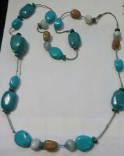 "Vintage 40"" Blue, Cloudy & Tan Stones & Beads Cord Necklace"
