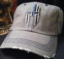 Spartan Helmet Blue Line USA Flag Trucker Hat Low Profile Cotton Light Gray Cap